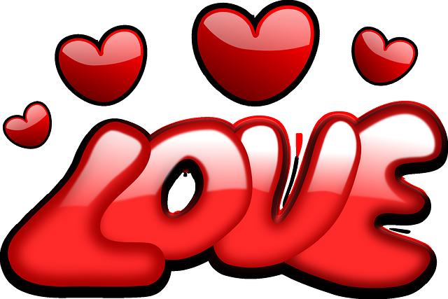 תמונות של לבבות - כיתוב LOVE