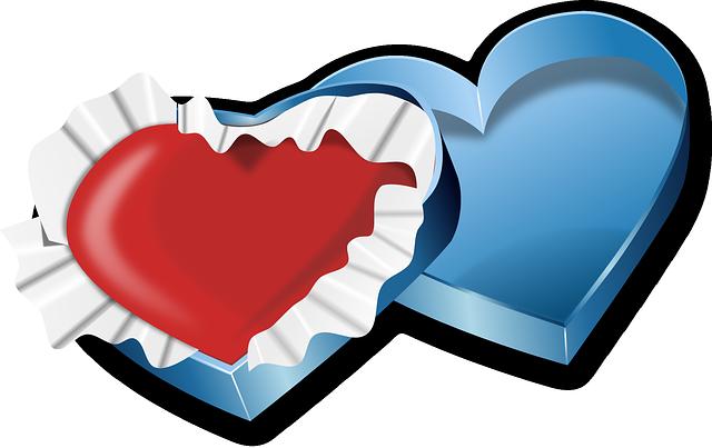 תמונות של לבבות - לב אריזת מתנה