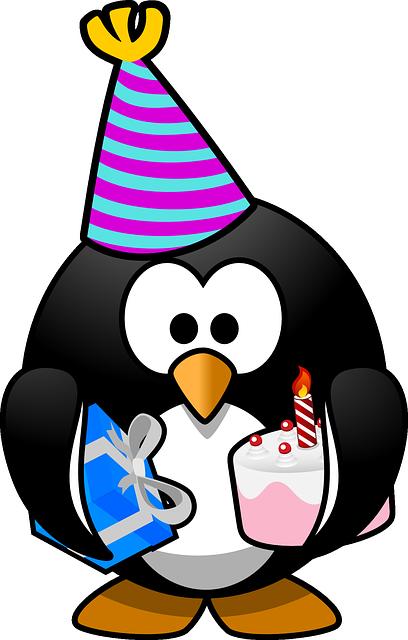תמונות יום הולדת - פינגווין כובע מתנה פאי