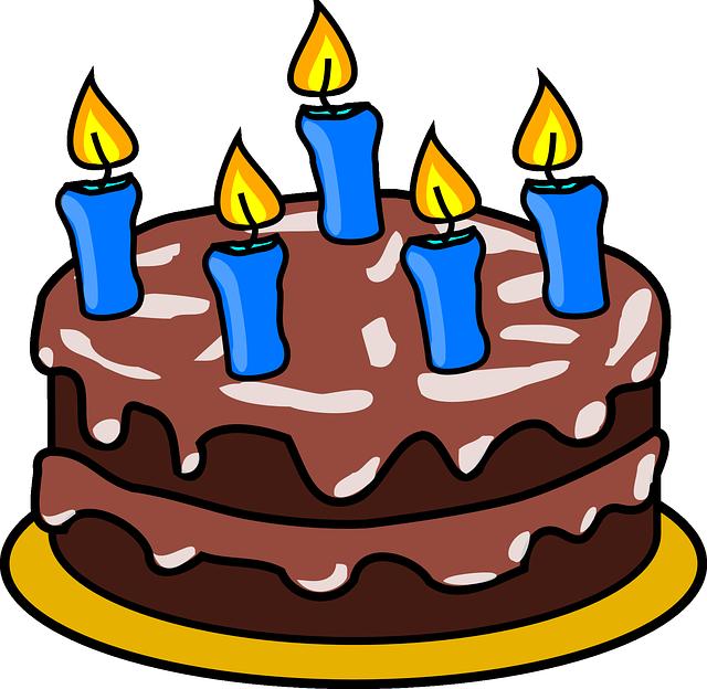 תמונות יום הולדת - עוגה מאוירת נרות