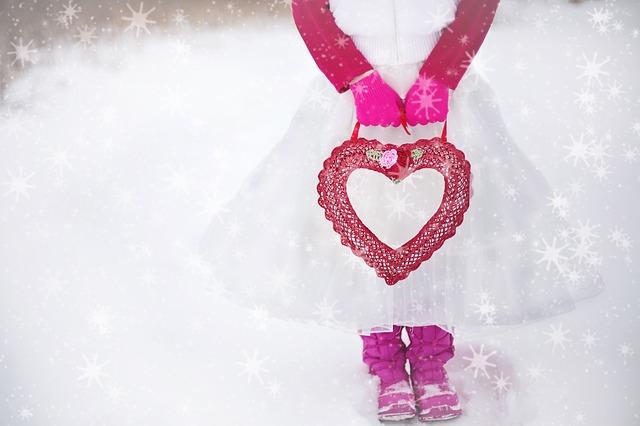 תמונות של לבבות - שלג ילדה תיק